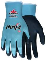 MCR Safety Ninja FLT N9659XL Work Gloves, 15 Gauge Nylon Shell, Feather Lite Technology(FLT) Coated Palm & Fingertips, X-Large