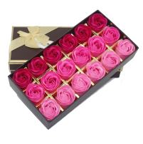 Bath Soap Rose Flower Floral Scented Soap Rose Petals Body Soap in Gift Box for Valentine's Day Anniversary Mother's Day Birthday (18 Pcs/Box Gradient Pink)