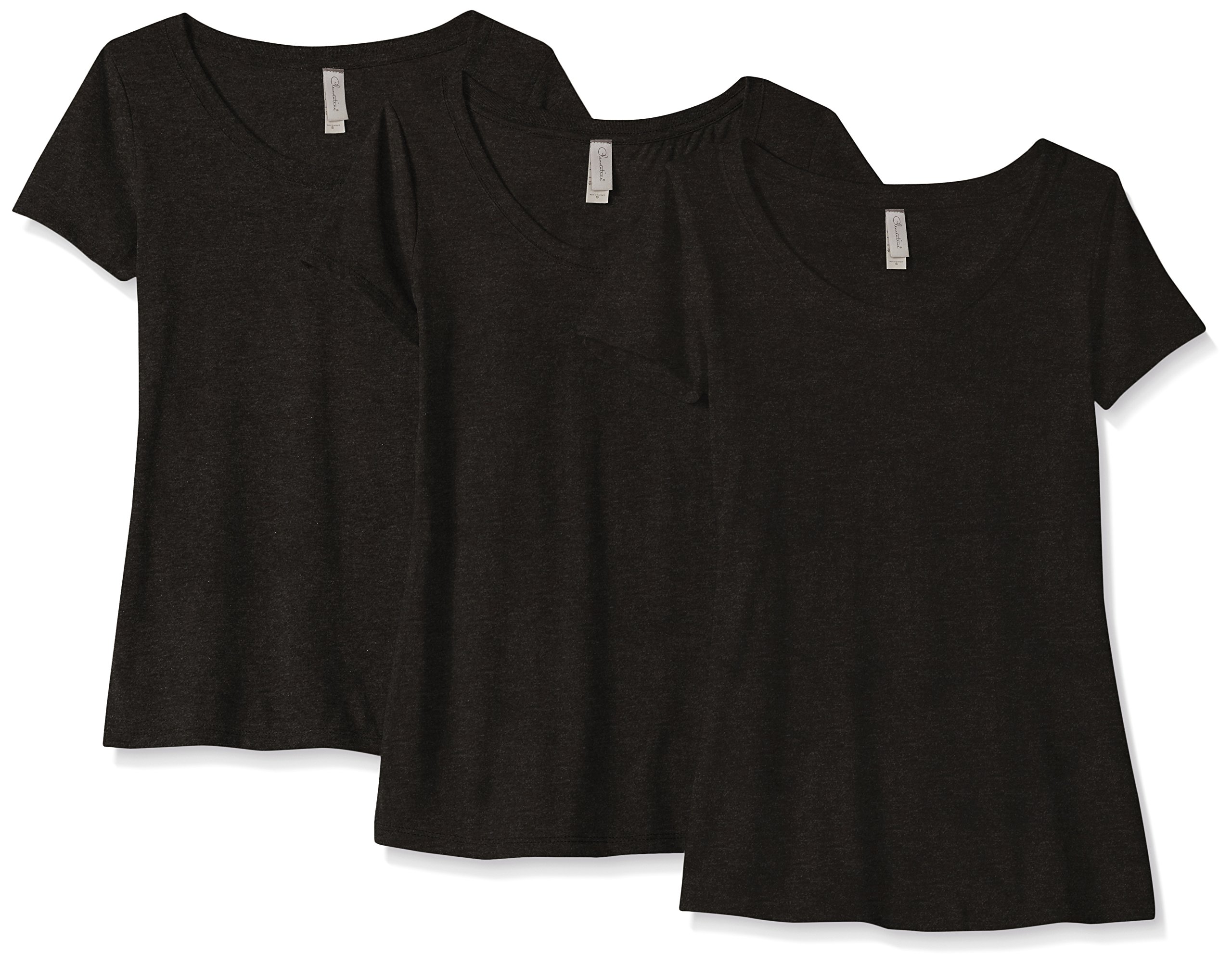 Clementine Apparel 3 Pack Short Sleeve T Shirts Tag Free Scoop Neck Triblend Stretch Undershirt Tees (6730)
