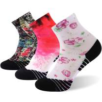 HUSO Unisex Novelty Colorful Print Athletic Running Sports Quarter Socks 1,3,4,7 Pairs