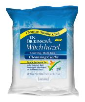 T.N. Dickinson's Witch Hazel New Soothing MultiUse Cleansing Cloth, Clear, 25 Count