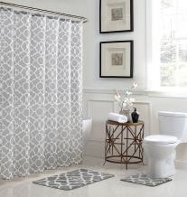 Bath Fusion Elsa Geometric 15-Piece Light Grey Bathroom Shower Set