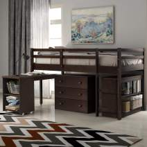 Merax Low Study Twin Loft Bed with Cabinet/Storage Drawers/Rolling Portable Desk and Bookcase (Espresso)