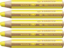 """STABILO""""Woody 3-in-1"""" Multi-Talented Pencil - Yellow (Pack of 5)"""