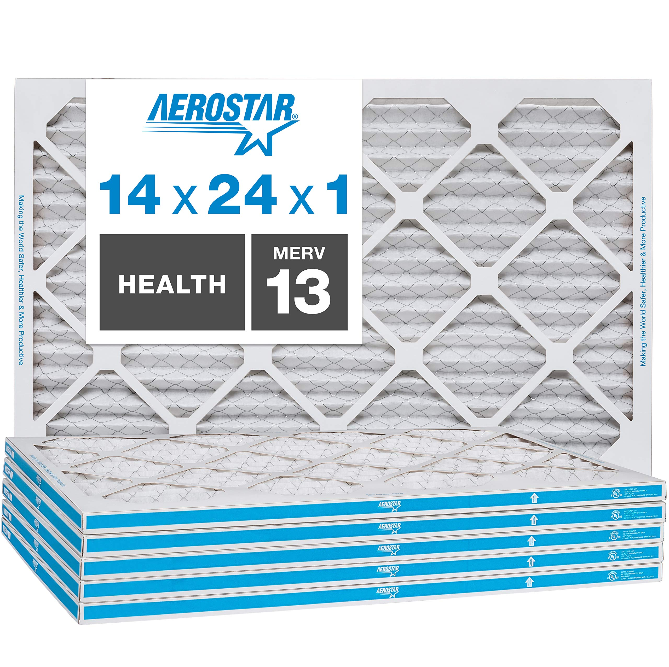 Aerostar Home Max 14x24x1 MERV 13 Pleated Air Filter, Made in the USA, Captures Virus Particles, 6-Pack