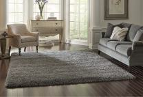 Gertmenian True Shags Collection Gray Shag Rug 8x10 - Soft Olefin Yarn 2 Inch Thick in Luxury Charcoal Solid Color Area Rugs
