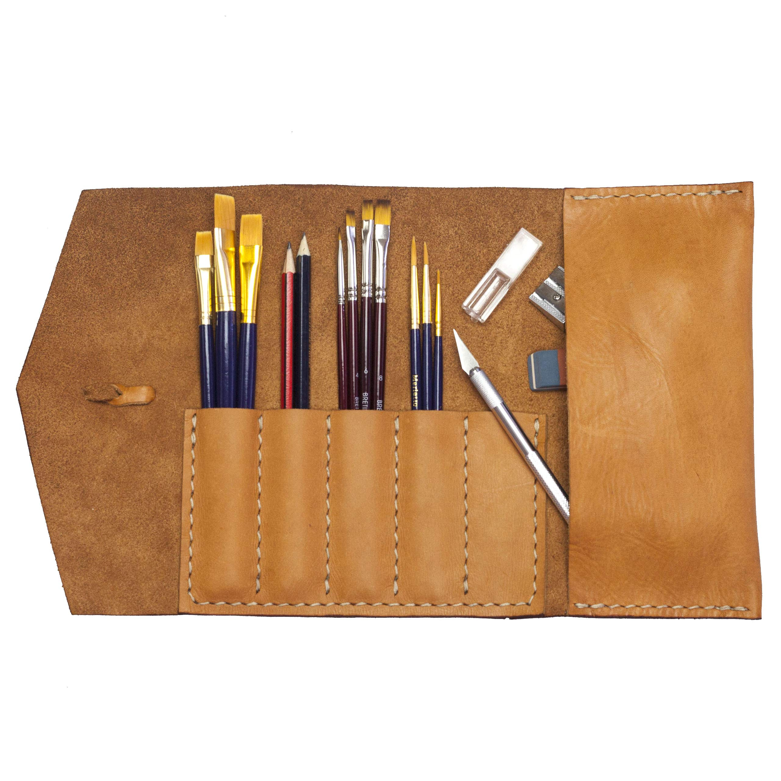 Alta Andina Leather Pen & Pencil Case | Soft Leather Roll Up for Pens, Brushes, Supplies (Brown – Miel)
