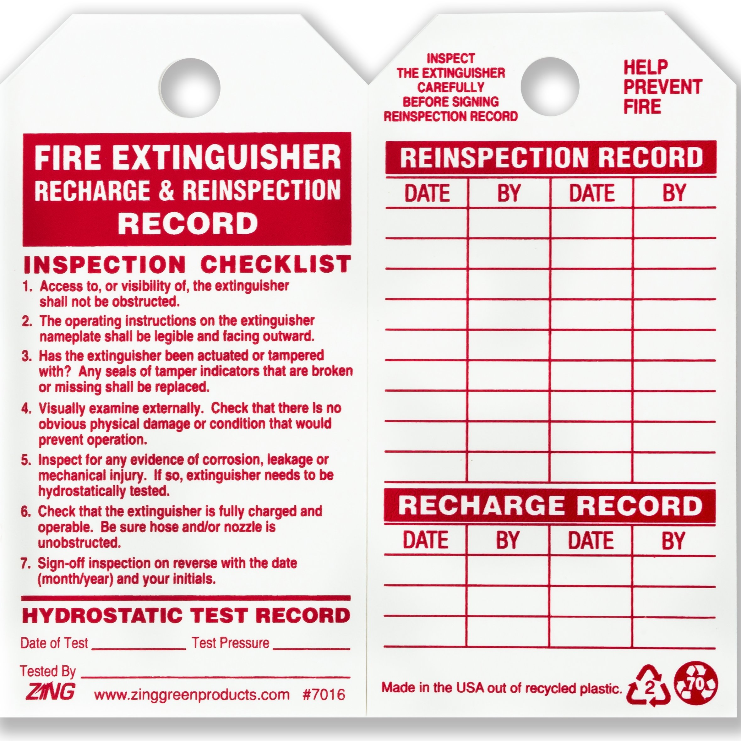 ZING 7016 Eco Safety Tag, Fire Extinguisher, 5.75Hx3W, 10 Pack
