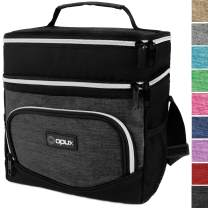 OPUX Premium Insulated Dual Compartment Lunch Bag for Men Women   Double Deck Leakproof Liner Lunch Tote   Soft Reusable Lunch Box for Work School   Medium Lunch Pail, Fits 8 Cans (Heather Charcoal)