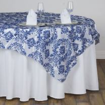BalsaCircle 60x60-Inch Royal Blue on White Damask Flocking Table Overlays - Wedding Reception Party Table Decorations