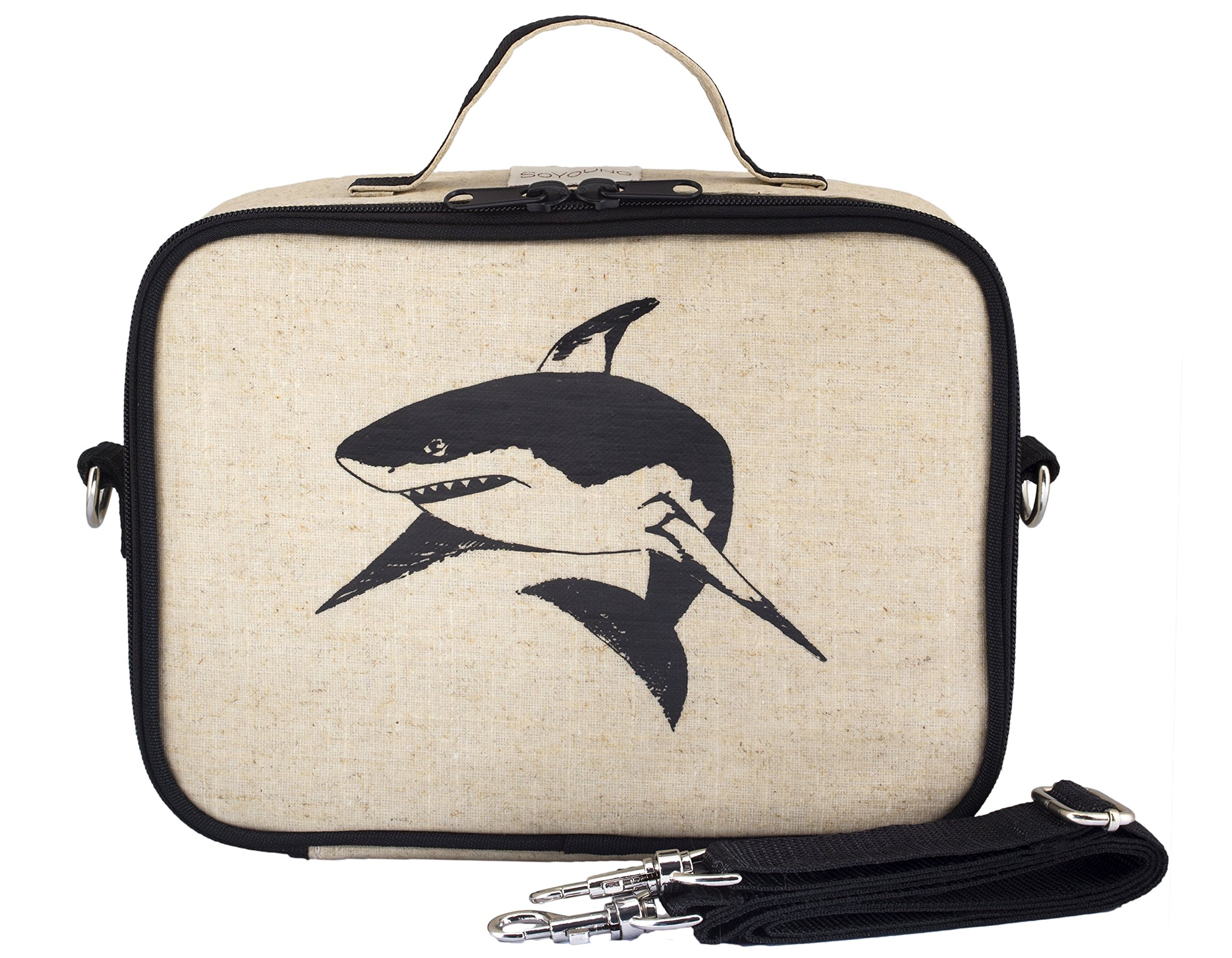 SoYoung Lunch Bag - Raw Linen, Eco-Friendly, Retro-Inspired, Leakproof, Easy to Clean - Black Shark