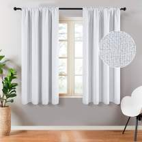 Top Finel Faux Linen 100% Blackout Curtains 45 Inch Length for Bedroom Living Room Thermal Insulated Drapes Room Darkening Rod Pocket Window Curtains, Grayish White, 2 Panels