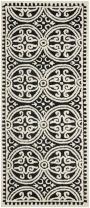 "Safavieh Cambridge Collection CAM123E Handmade Moroccan Wool Runner, 2'6"" x 20', Black/Ivory"
