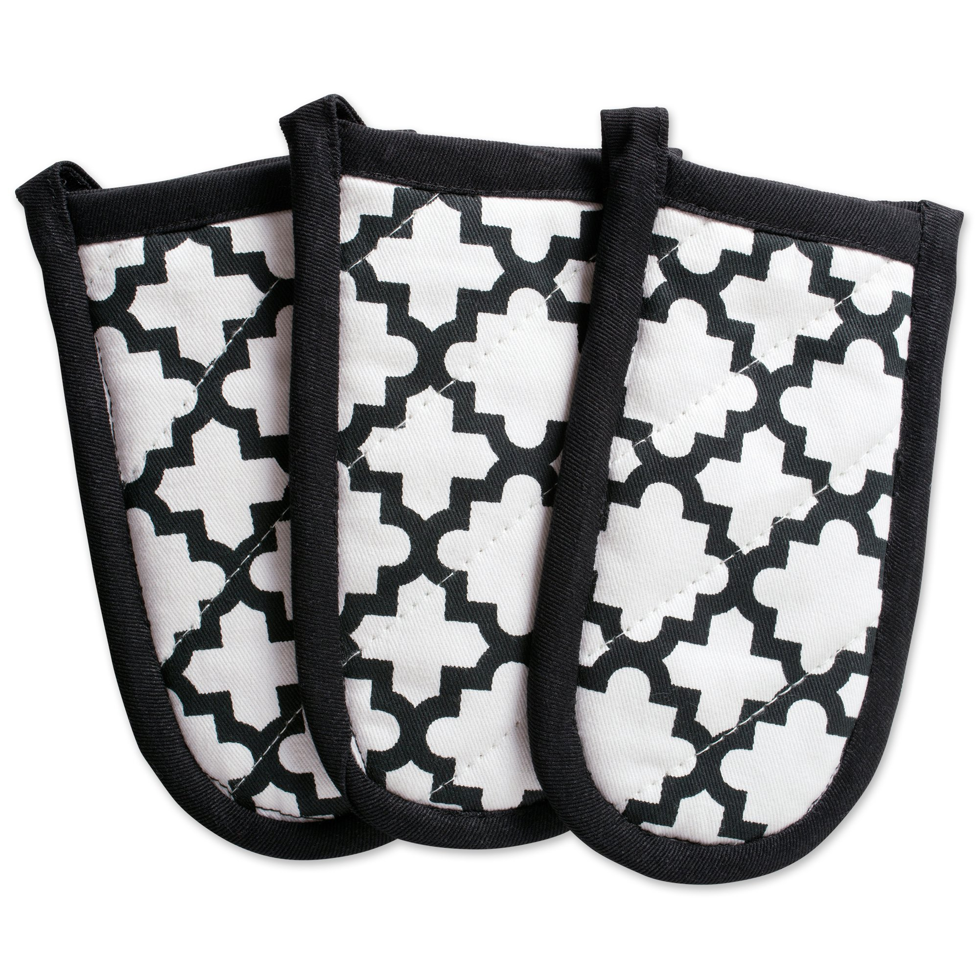 """DII Cotton Lattiece Pan Handle Holders, 6 x 3"""" Set of 3, Machine Washable and Heat Resistant Pan Handle Sleeve for Kitchen Cooking & Baking-Wwhite"""