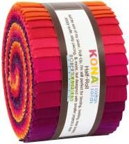 Robert Kaufman Kona Cotton 2.5'' Half Rolls 24 Piece Fabric, Birds Of Paradi