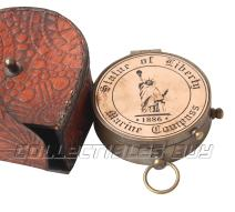 collectiblesBuy Maritime Copper Compass Statue of Liberty Handmade Nautical Marine 1886 Antique Magnetic Leather Case