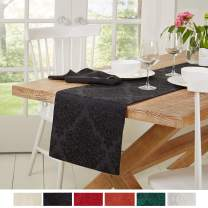 """Town & Country Living Lexington Table Runner 15""""x72"""" Rectangle, Stain Resistant Machine Washable Cotton/Polyester, Damask Black"""