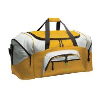 Personalized Softball Duffel Bag with Custom Text   Baseball Sport Bag with Customizable Embroidered Monogram Design (Gold/Grey)