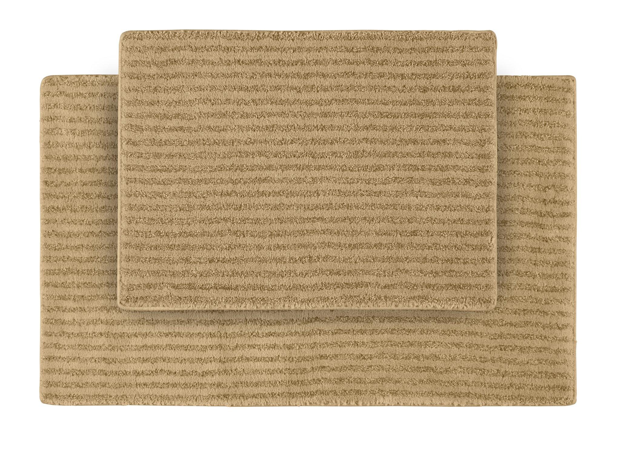 Garland Rug 2-Piece Sheridan Nylon Washable Bathroom Rug Set, Linen