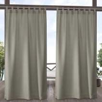 Exclusive Home Curtains Indoor/Outdoor Solid Cabana Tab Top Curtain Panel Pair, 54x84, Taupe