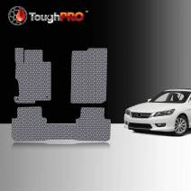 TOUGHPRO Floor Mat Accessories Set (Front Row + 2nd Row) Compatible with Honda Accord - All Weather - Heavy Duty - (Made in USA) - Gray Rubber - 2013, 2014, 2015, 2016, 2017