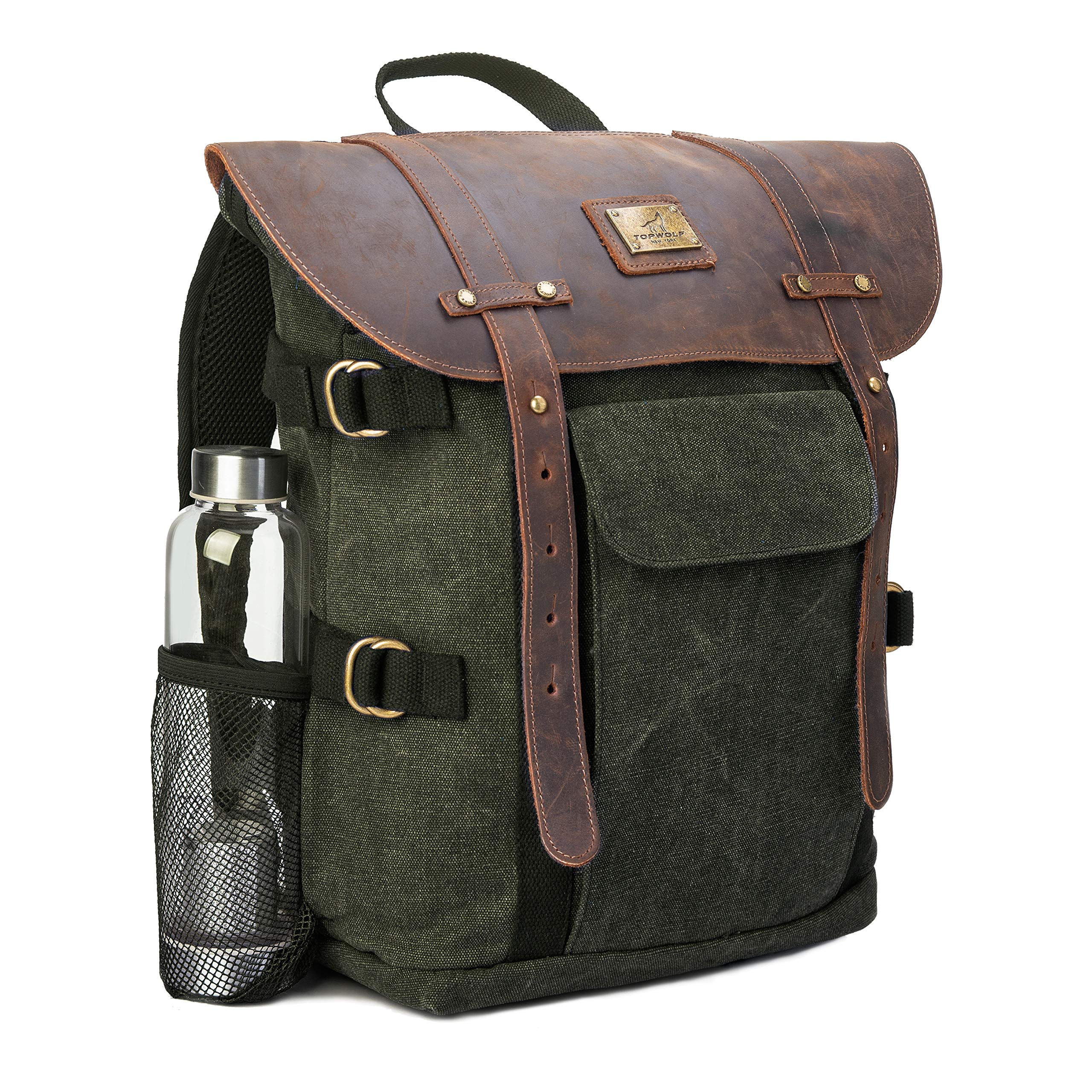 """Leather Backpack for Men TOPWOLFS Canvas Backpack Vintage Rucksack fit 15.6"""" Laptop Books School Travel Bag"""