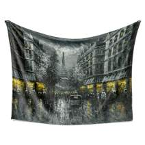 LIVETTY Tapestry Medieval Cities and Countries Wall Hanging Cool Oil Painting Paris Street Scene The Eiffel Tower Ancient Building View Tapestries Wall Decor for Residential Use 84x59 Inch Black