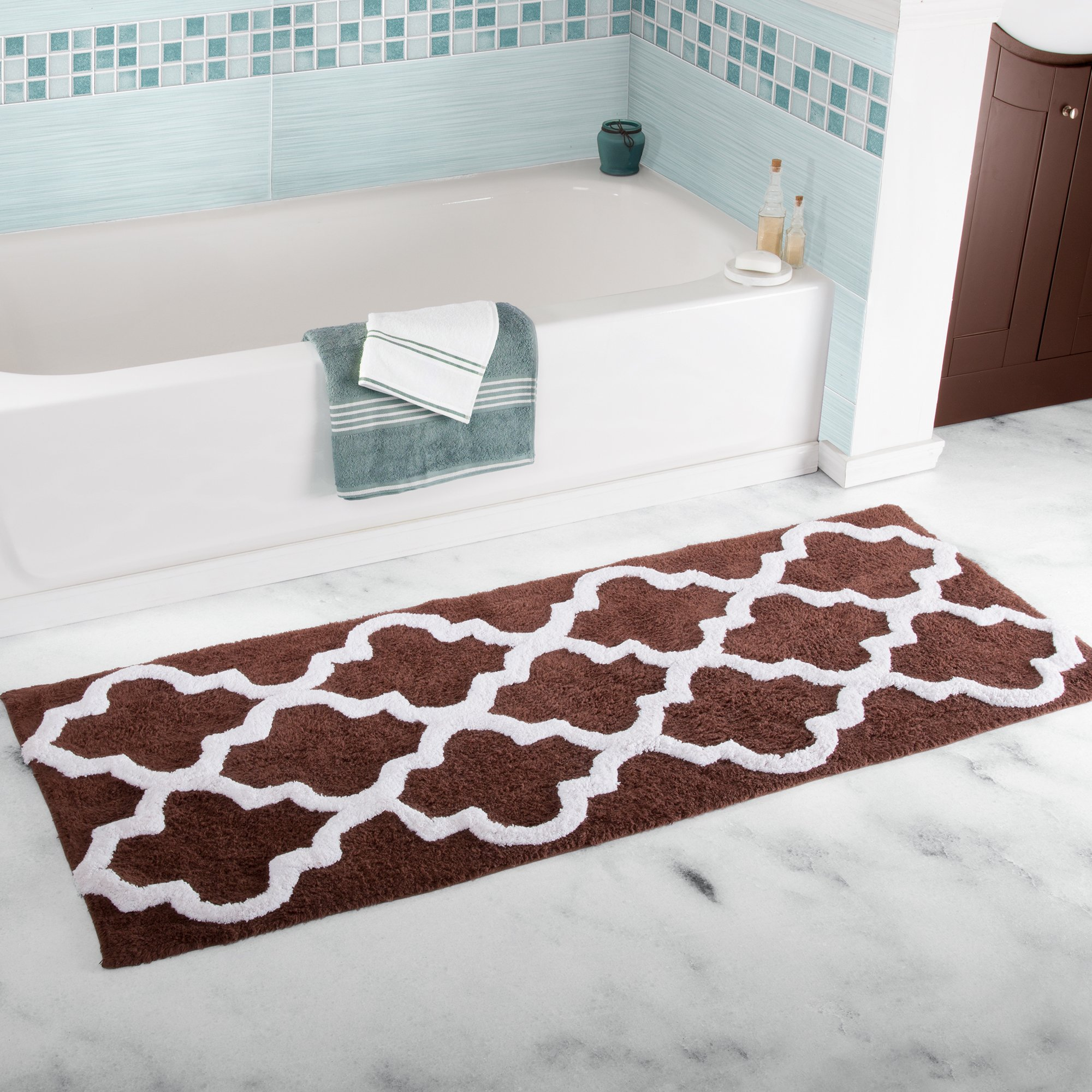 Lavish Home 100% Cotton Trellis Bathroom Mat- 24x60 inches - Chocolate