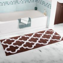 Lavish Home 100% Cotton Trellis Bathroom Mat- 24x60 inches - Chocolate