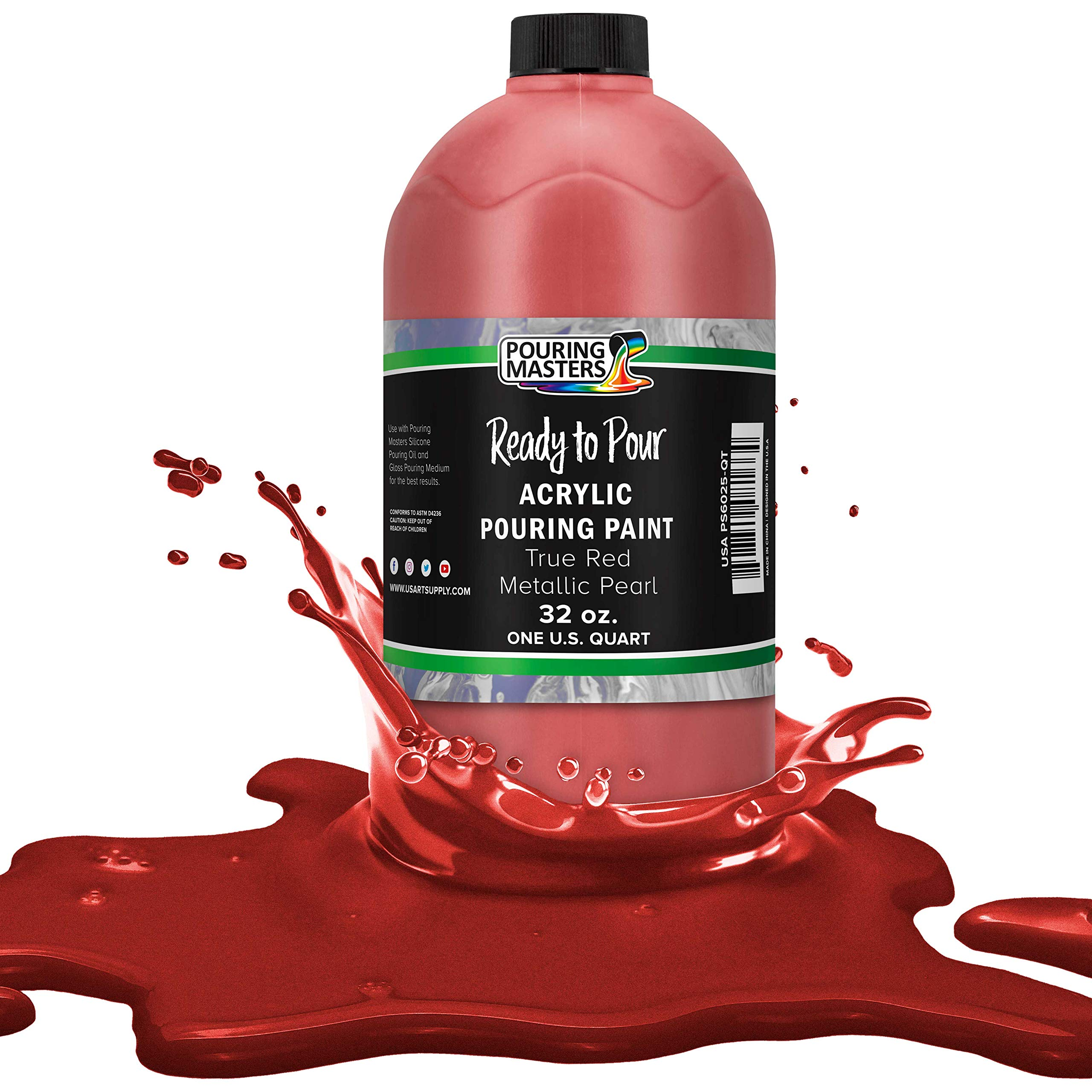 Pouring Masters True Red Metallic Pearl Acrylic Ready to Pour Pouring Paint – Premium 32-Ounce Pre-Mixed Water-Based - for Canvas, Wood, Paper, Crafts, Tile, Rocks and More