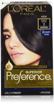 L'Oréal Paris Superior Preference Fade-Defying + Shine Permanent Hair Color, 2 Purest Black, 1 kit Hair Dye