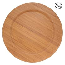 """BambooMN 13"""" Dia Bamboo Reusable Dinnerware Charger Round Plates for Catered Events, Holidays, or Home Use Supplies, 10 Pcs"""