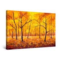 "Startonight Canvas Wall Art Golden Forest Trees Painting Framed 32"" x 48"""