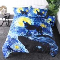 Sleepwish Starry Night Wolf Bedding Cosmic Howling Wolf Duvet Cover Watercolor Art Duvet Cover Set Black Blue Yellow Wildlife Bedspreads (Full)