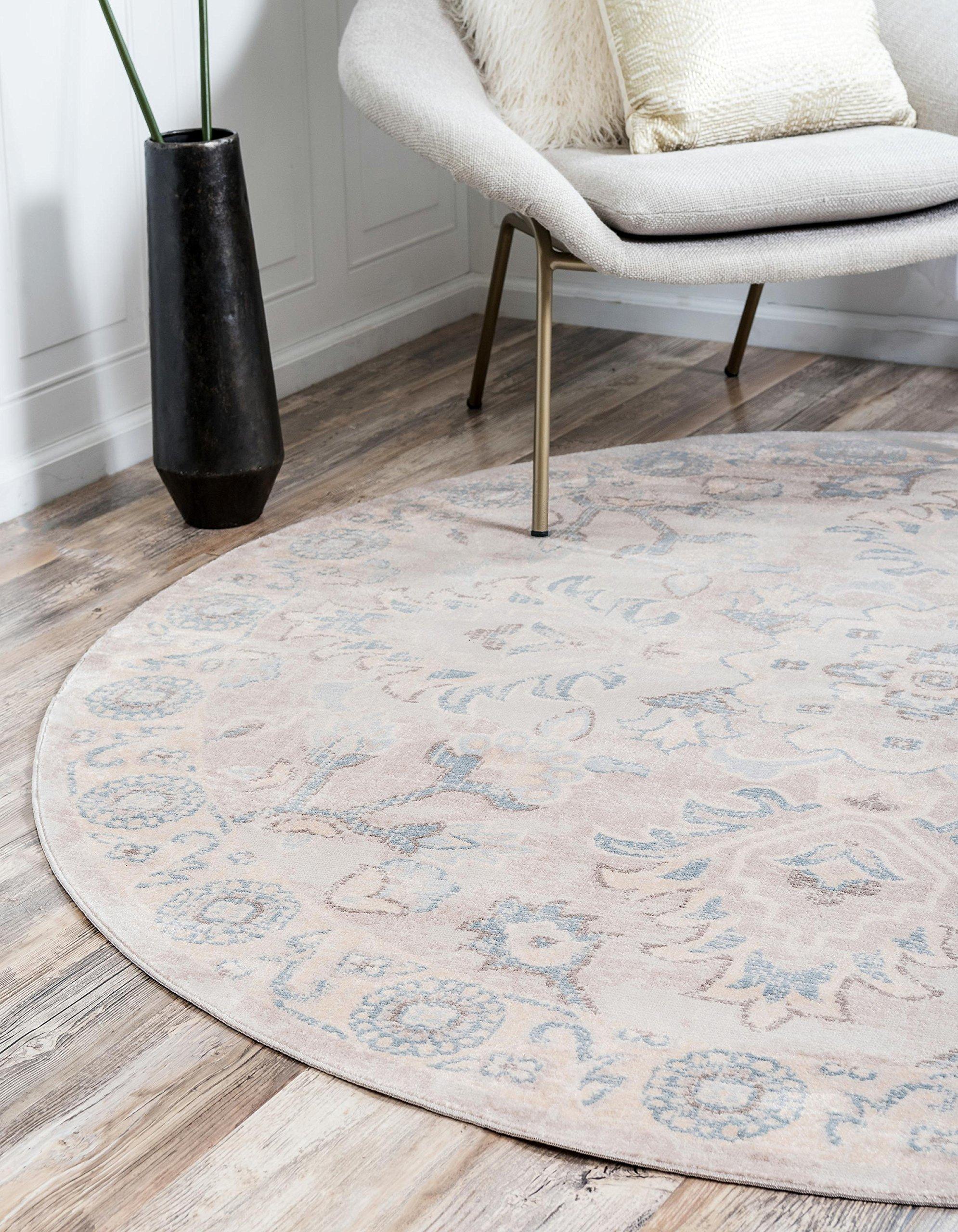 Unique Loom Paris Collection Pastel Tones Traditional Distressed Gray Round Rug (6' 0 x 6' 0)