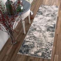 """Well Woven Splash Grey& Beige Modern Abstract Geometric Paint Brush Stroke 2x7 (2'3"""" x 7'7"""" Runner) Area Rug Neutral Vintage Thick Soft Plush Shed Free"""