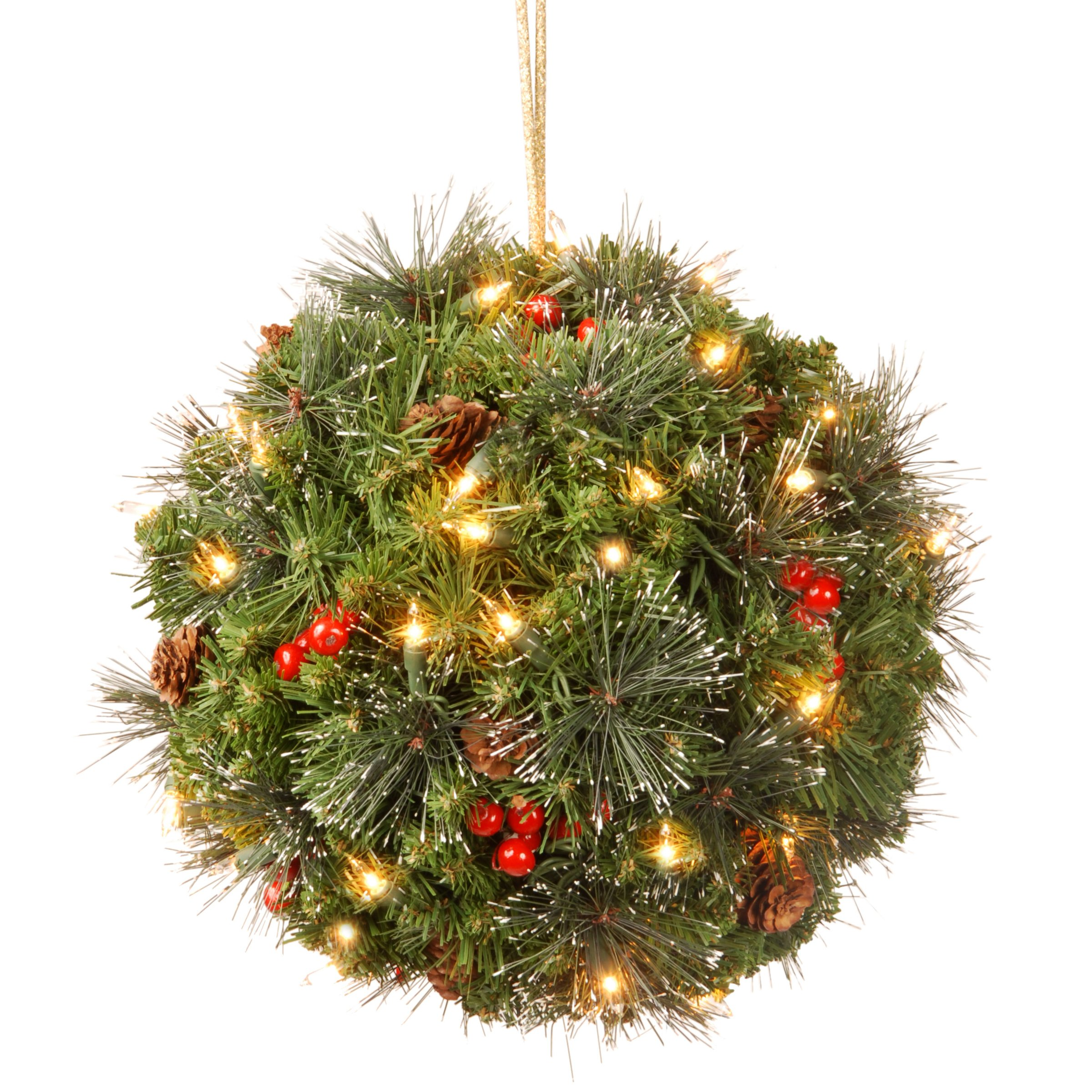 """National Tree Crestwood Spruce Kissing Ball with Battery Operated Warm White LED Lights 12"""""""
