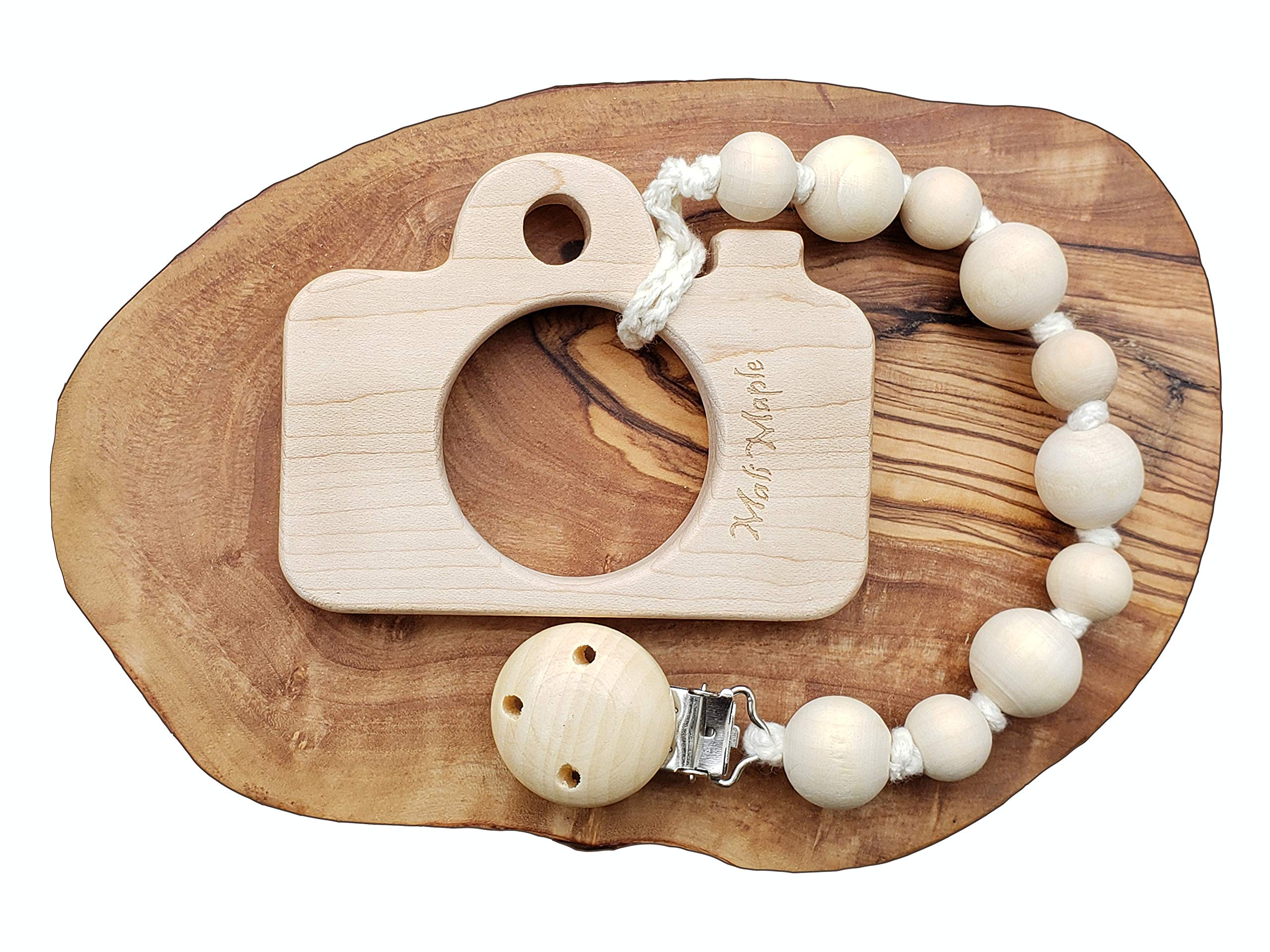 Wooden Teether Toy and Pacifier Holder- Natural Organic Teething Beads - 2-in-1 Design Interchangeable Universal Pacifier Clip Holder Strap - Beautiful (Camera teether)