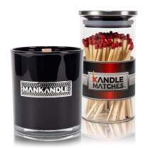 Majestic Zen's- ManKandle Scented Candle & Matches Gift Set for Men | Gift for Boyfriend | Gift for Dad | Gifts for Husband | Birthday Gifts for Men | Gifts for Fathers | Gifts for Guys