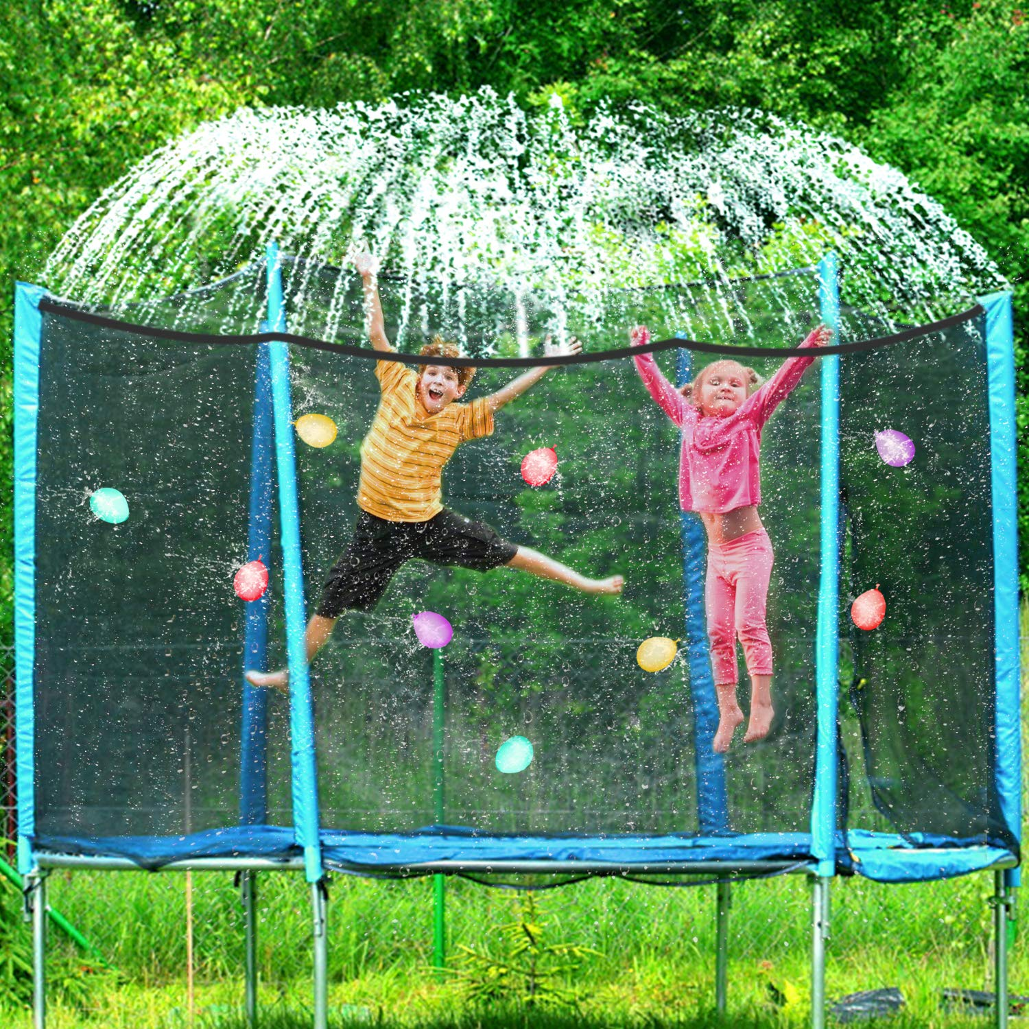 Trampoline Sprinkler 39FT Waterpark Outdoor Water Sprinklers Toy Accessories for Kids Fun Summer Water Park Backyard Yard Game for Boy Girl Outside Play Activities with 100 Water Balloons, 25 Zip Ties