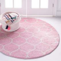 Unique Loom Trellis Frieze Collection Lattice Moroccan Geometric Modern Pink Round Rug (8' 0 x 8' 0)
