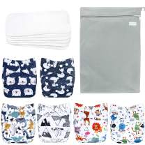 Wegreeco Washable Reusable Baby Cloth Pocket Diapers 6 Pack + 6 Bamboo Inserts (with 1 Wet Bag, Cool Animals)