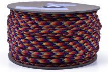 Bored Paracord - 1', 10', 25', 50', 100' Hanks & 250', 1000' Spools of Parachute 550 Cord Type III 7 Strand Paracord Well Over 300 Colors - Trainwreck - 250 Foot Spool