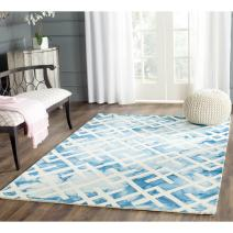 Safavieh Dip Dye Collection DDY677G Handmade Geometric Watercolor Blue and Ivory Wool Square Area Rug (7' Square)