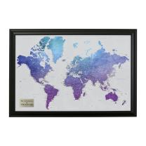 Personalized Vibrant Violet Watercolor World Travel Map with Black Frame