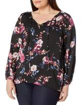 AGB Women's Plus Size Smocked Shoulder Top