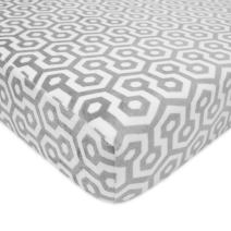 """TL Care Heavenly Soft Chenille Fitted Crib Sheet for Standard Crib and Toddler Mattresses, Grey Honeycomb,28"""" x 52"""""""