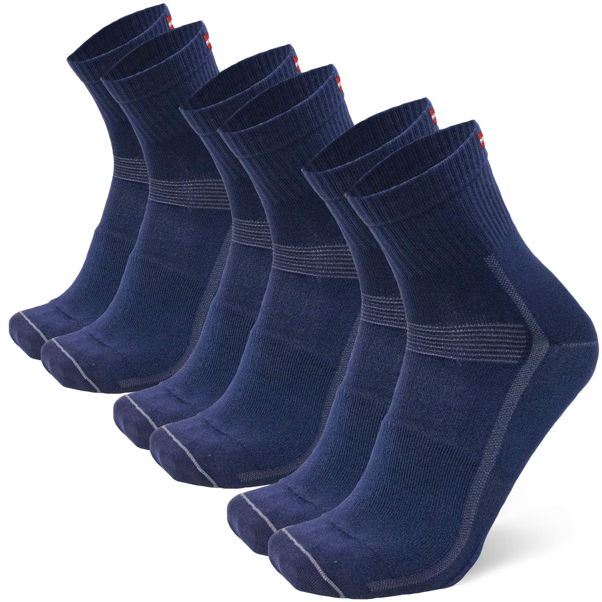 DANISH ENDURANCE Cycling Socks for Men & Women 3-Pack, Quarter Breathable & Cushioned Bike Socks, Mountain Biking, Spinning