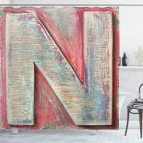 """Ambesonne Letter N Shower Curtain, Sketch Style Colorful N Letter with Soft Featured Grunge Character, Cloth Fabric Bathroom Decor Set with Hooks, 75"""" Long, Dark Coral N"""