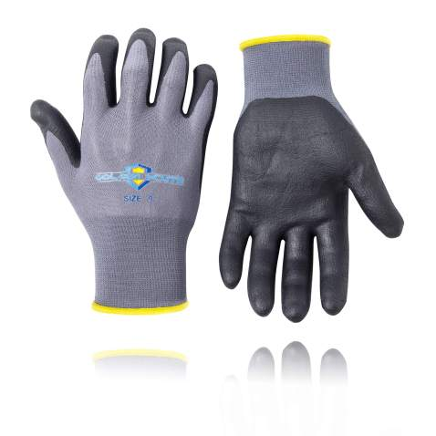 Golden Scute Lightweight Nitrile Work Gloves, Comfort Stretch Fit, Durable Power Grip Micro-Foam Coated, Smart Touch, Thin Machine Washable, 6 Pairs (Small/Size 7)